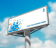 Billboard against sky background day image. Place your design here prominent high billboard advertisement poster against blue clouded daytime sky abstract vector Royalty Free Stock Photography