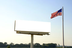 Billboard and American Flag Royalty Free Stock Images