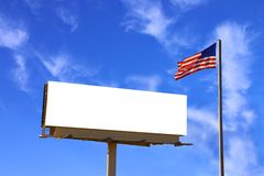 Billboard and American Flag wi Stock Photo