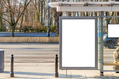 Billboard banner empty white at a bus stop. Close stock photography
