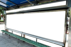 Billboard, banner, empty, white at a bus stop Stock Photo