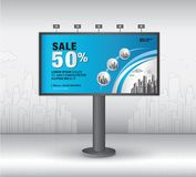 Billboard banner template vector design, advertisement, Realistic construction for outdoor advertising on city background, vector. Template design stock illustration