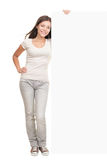 Billboard banner woman standing Stock Images
