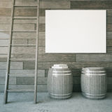 Billboard, barrels and ladder. Grey wooden interior with ladder, two barrels and blank billboard. Mock up, 3D Rendering Stock Photos