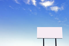 Billboard on a beautiful blue sky -small sign version Royalty Free Stock Photography