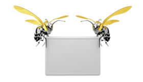 Billboard bee. Two bees hold a blank space.Isolated on white Royalty Free Stock Photo