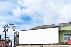 Billboard blank advertise set up on old building Royalty Free Stock Photography