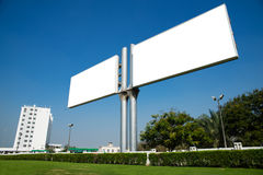Billboard. Blank billboard on the sky background stock photo