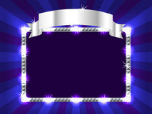 Billboard in blue. Bright and fun sunburst, stripe and lights billboard or placard with silver ribbon above, ready for an announcement Royalty Free Stock Photography