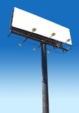 Billboard blue. White billboard advertise with clouds put your ad here Royalty Free Stock Images