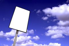 billboard on a blue sky with clouds Royalty Free Stock Photography
