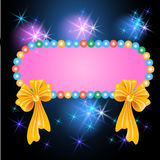 Billboard with bows and glowing stars. Colorful billboard with bows and glowing stars Royalty Free Stock Photography