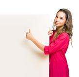 Billboard brunette. Stock Photo