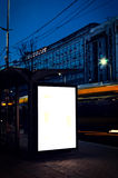 Billboard on the bus station. Blank billboard on the bus station in long  exposure Stock Image