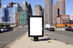 Billboard in the City. Boston downtown district in the background Stock Image
