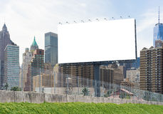 Billboard city. Mock up of blank billboard advertising in the city With clipping path on screen.- can be used for display your products or promotional stock image