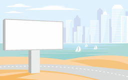 Billboard and the coastal city Royalty Free Stock Images