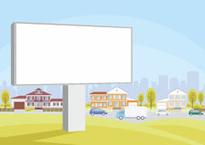Billboard and country houses Stock Photo