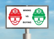 Bitcoin billboard. Billboard with cryptocurrency. Mining versus buying. Raster Stock Photography