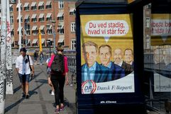 BILLBOARD BY DANISH PEOPLE PARTY ELECION. Copenhagen/Denmark 05.September 2018. Danish people party election banner on bus stops . Photo.Francis Joseph Dean / stock photography