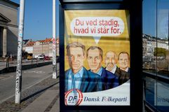 BILLBOARD BY DANISH PEOPLE PARTY ELECION. Copenhagen/Denmark 05.September 2018. Danish people party election banner on bus stops . Photo.Francis Joseph Dean / royalty free stock photography