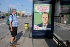 BILLBOARD BY DANISH PEOPLE PARTY ELECtION POSTER. Copenhagen/Denmark 06.September 2018. Danish people party election banner on bus stops .through out headscape stock photography