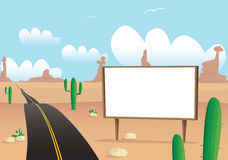 Billboard on desert highway Stock Image