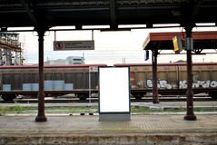 Billboard display at a train station. A billboard display with white space for attaching your design at a train station Stock Photo