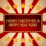 Billboard. Electric bulbs. Retro light frames. Merry Christmas and Happy New Year Stock Images