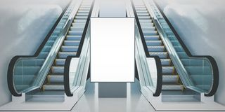 Billboard escalators. Billboard mockup on underground station 3d rendering Royalty Free Stock Photos