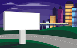 Billboard on the freeway. The image of the Billboard on the background of a modern city. Cityscape with tall buildings, skyscrapers.Vector background for design royalty free illustration