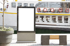 Billboard in front of passenger ferry Stock Images