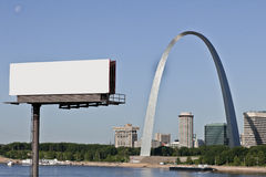 Billboard and Gateway Arch at St. Louis Stock Images