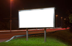 Billboard on highway by night. In Zagreb royalty free stock photo