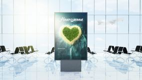 Billboard honeymoon poster on airport lounge. Billboard advertising honeymoon trip on airport lounge 3d rendering Stock Image