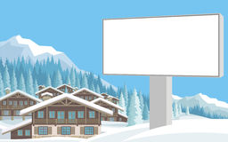 Billboard i górska wioska Obrazy Royalty Free