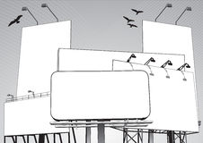 Billboard Jungle in vector. Billboard jungle consisting of five different blank billboards in vector Stock Image