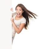 billboard kobieta ekstatyczna szyldowa Obrazy Royalty Free