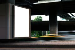 Billboard light box blank white Light signs under the expressway panel for sign Advertising on the road, Billboard box sign empty. The Billboard light box blank stock photography