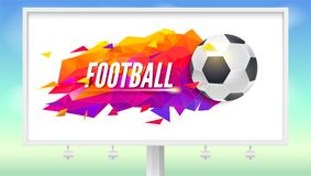 Billboard with logo for football teams or tournaments, championships of soccer. Fashionable low-poly trendy background. With ball and triangles for posters Stock Photos