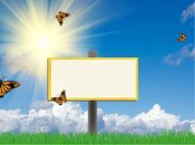Billboard on meadow Stock Image