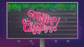 Billboard with Merry Christmas greetings, lettering design. Christmas tree branches on wood background. . 3D. Illustration on backdrop with snowflakes at night Royalty Free Stock Image