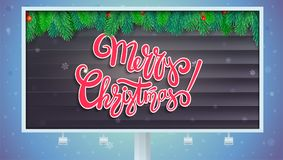 Billboard with Merry Christmas greetings. Lettering design, Christmas tree branches on wooden background. 3D. Illustration on backdrop with snowflakes, template Royalty Free Stock Photos