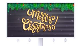 Billboard with Merry Christmas greetings. Lettering design, Christmas tree branches on wooden background. 3D. Illustration, isolated on white backdrop, template Royalty Free Stock Photo