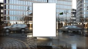 Billboard mockup on city downtown. Billboard mock-up on city downtown 3d rendering stock illustration