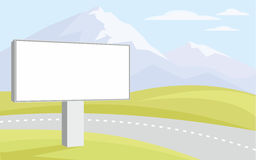 Billboard and mountains. The image of the Billboard on the background of green hills and mountain peaks royalty free illustration
