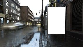 billboard na mieście przy wieczór ilustracja wektor
