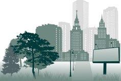 Billboard near city vector illustration