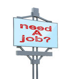 Billboard with need a job Royalty Free Stock Photography
