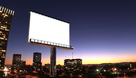 Billboard in night city. Illustration of billboard in twilight with night city royalty free stock photos